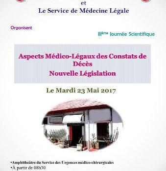 Journée scientifique « Aspects médico-légaux des constats de décès » Nouvelle Législation